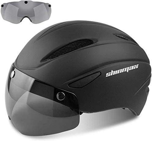 Shinmax Casco Bici Certificato CE, Casco Bici Adulto con Occhiali Magnetici Staccabili Visiera Shield for Hombres Mujeres Casco da Bicicletta Mountain & Road Regolabile Protezione Ski & Snowboard